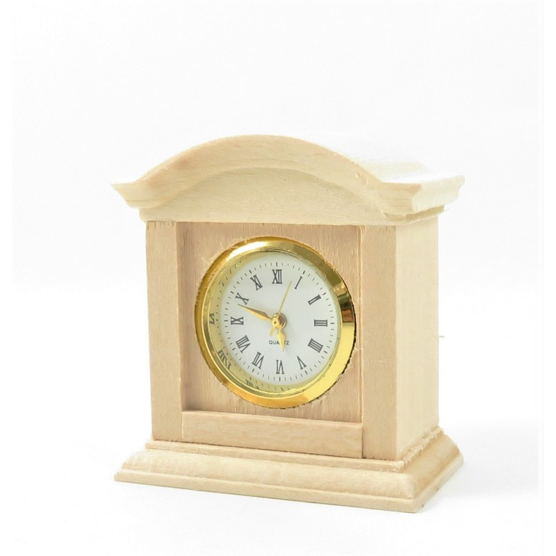 Dolls House Working Mantle Clock Unfinished Bare Wood Living Room Accessory