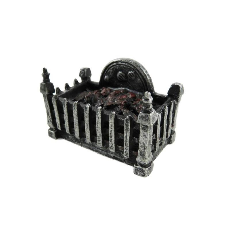 Dolls House Fire Grate Basket with Glowing Coals Resin 1:12 Fireplace Accessory