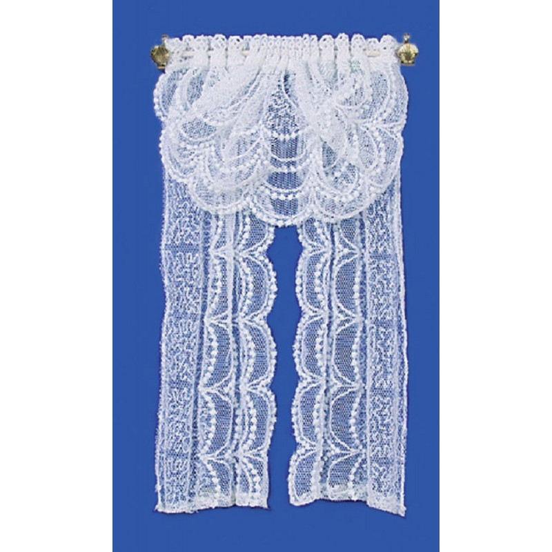 Dolls House White Lace Curtains with Swag Valance Window Accessory