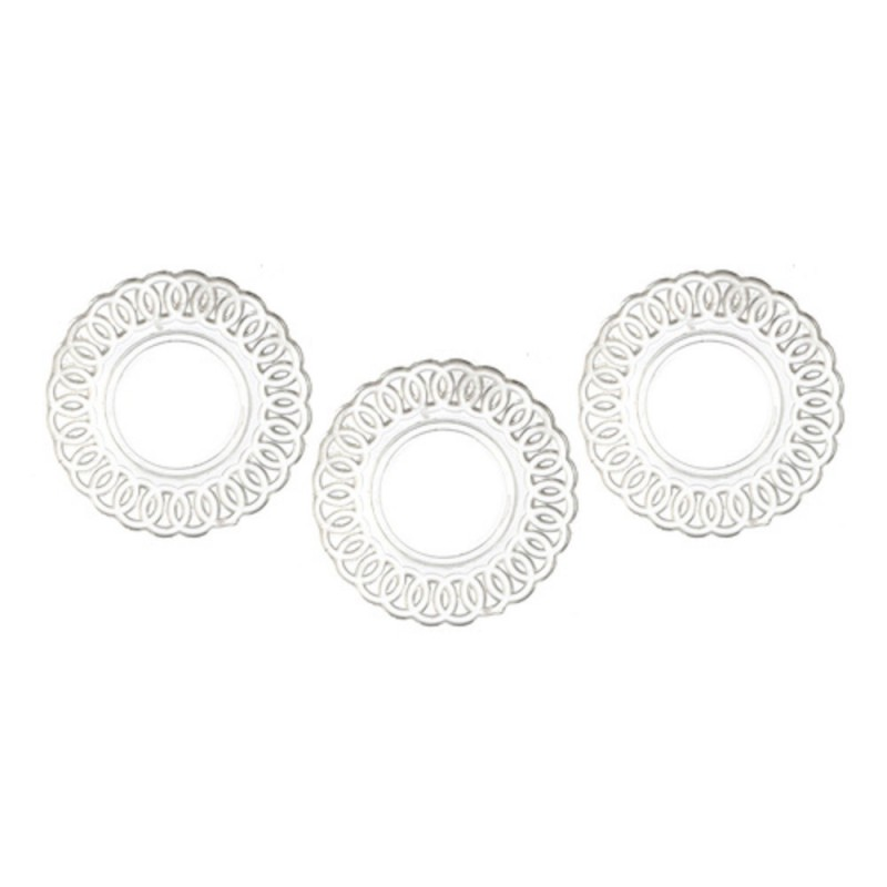 Dolls House Lace Edged Plates Clear Miniature Chrysnbon Dining Room Accessory