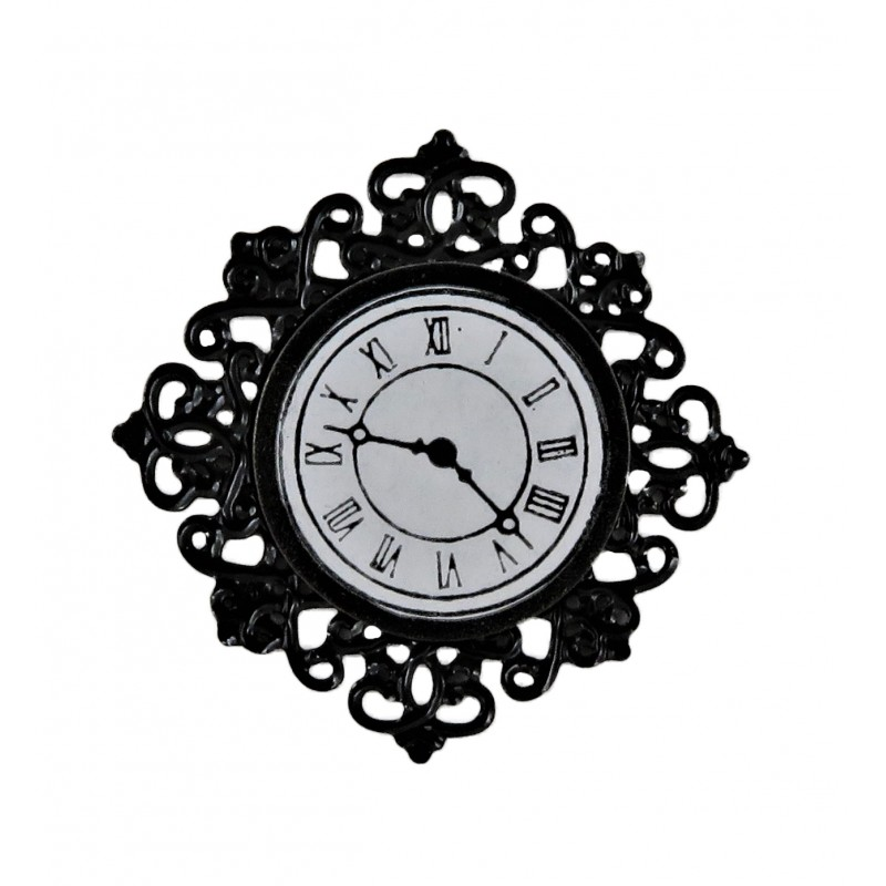 Dolls House Black Filigree Wall Clock Miniature 1:12 Ornament Accessory