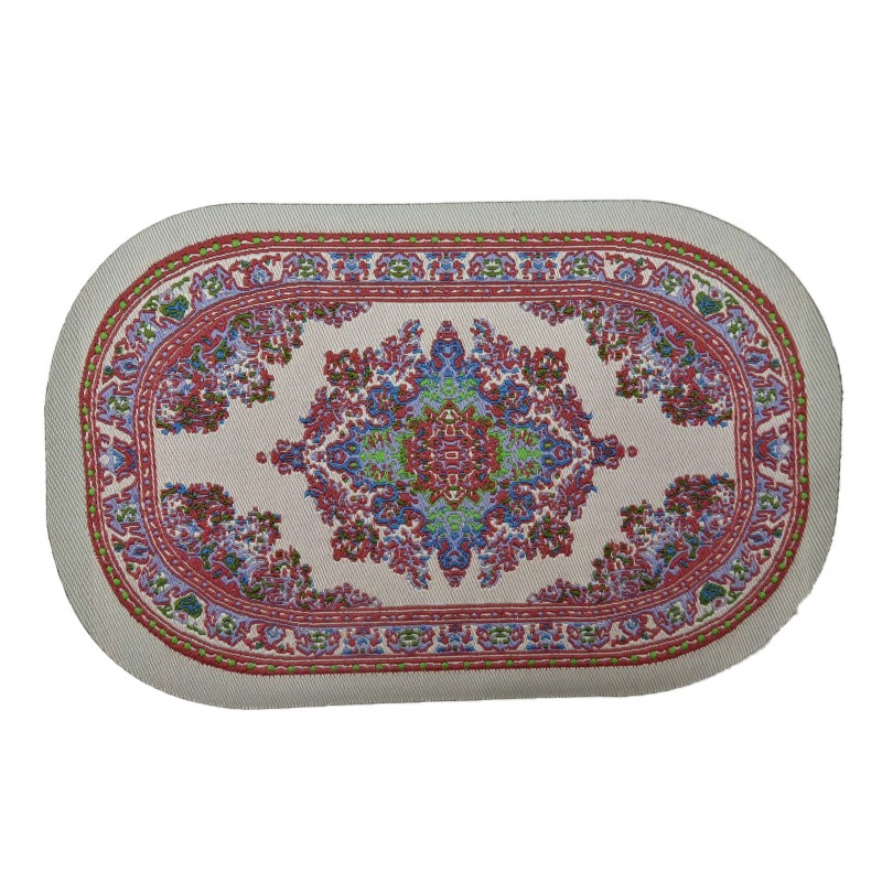 Dolls House Small Oval Turkish Carpet No Fringe Miniature Beige Pink Woven Rug