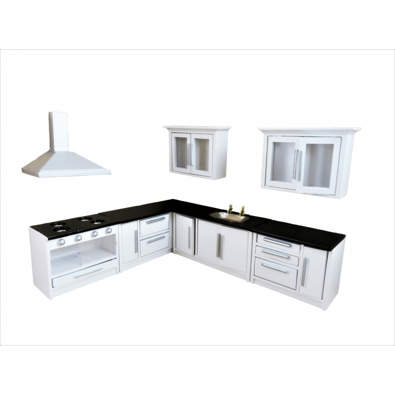 Dolls House Black & White Fitted Kitchen Furniture Set Modern Units & Appliances