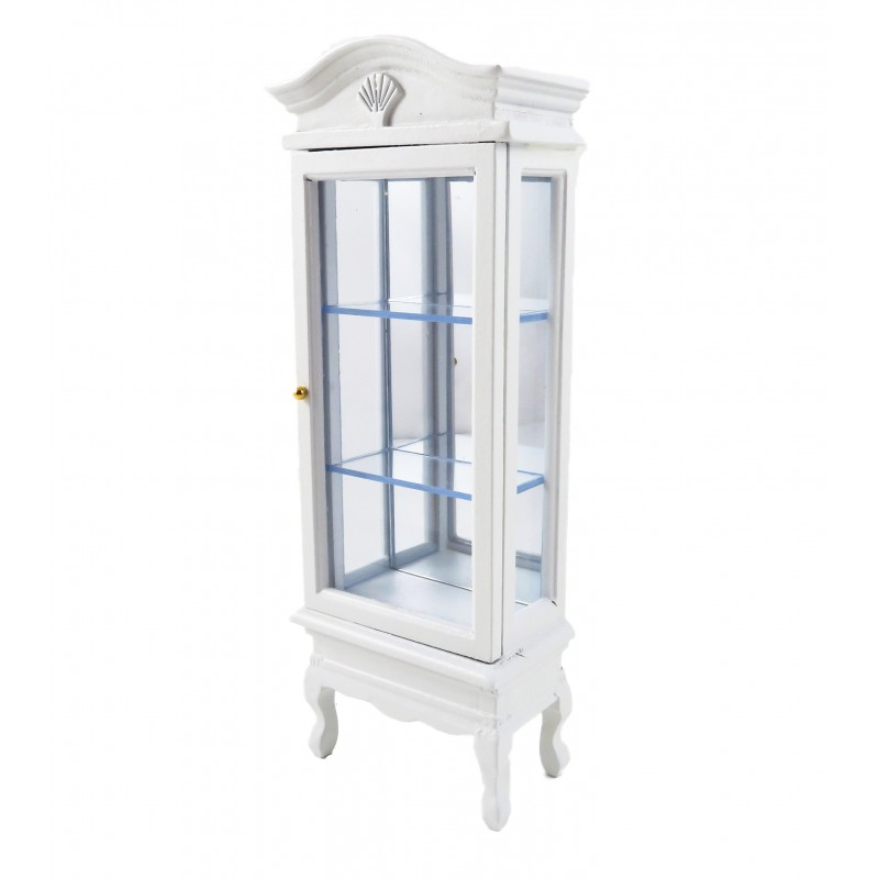 Dolls House White China Display Curio Cabinet Miniature Dining Room Furniture