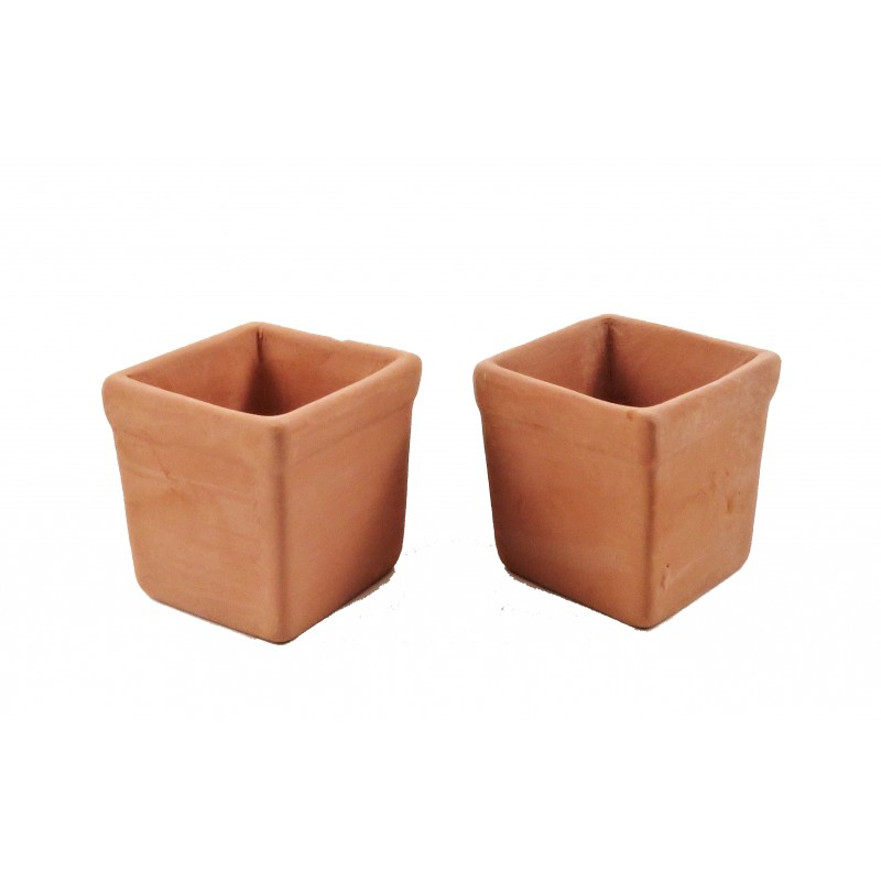 Dolls House 2 Large Square Clay Terracotta Tree Plant Pots 1:12 Garden Accessory