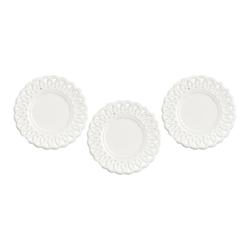 Dolls House Lace Edged Plates White Miniature Chrysnbon Dining Room Accessory