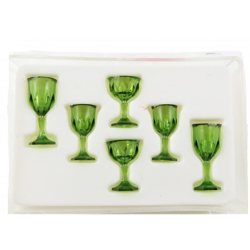 Dolls House Emerald Green Cut Stemware Glasses Set Chrysnbon Dining Accessory
