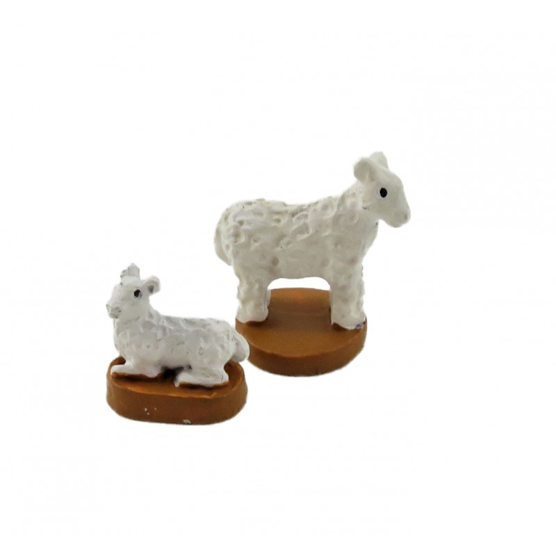 Dolls House Sheep Figurines Miniature Ewe & Her Lamb Ornament Accessory