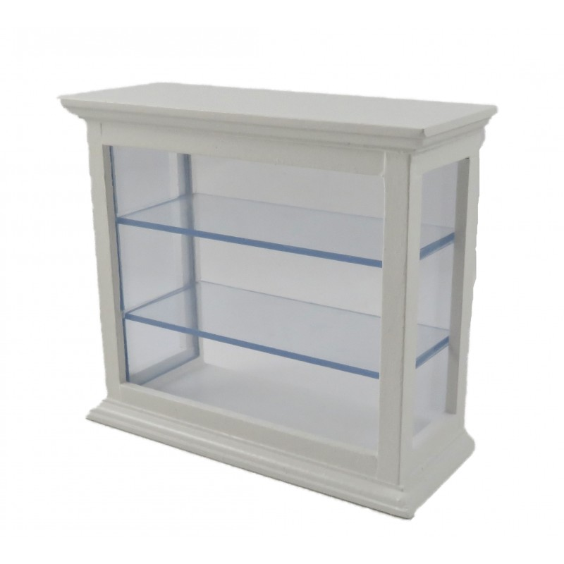 Dolls House White Counter Shelf Display Cabinet Shop Fitting Store Furniture