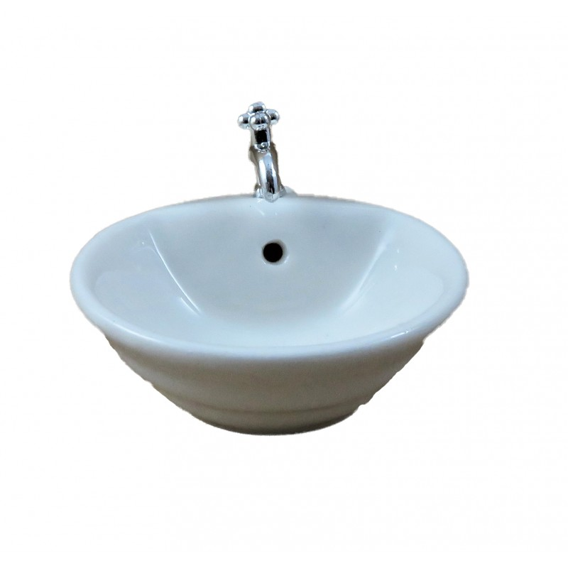Dolls House Small Round Porcelain Sink Basin Miniature 1:12 Bathroom Furniture
