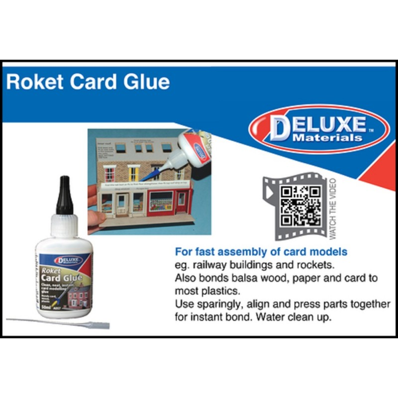 Dolls House Deluxe Roket Card Glue - 50ml - Bonds Card Wood Plastic