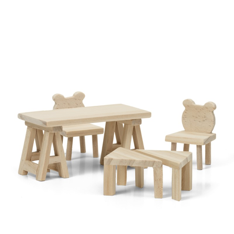 Lundby Dolls House DIY Teddy Bear Table & Chairs Furniture Set 1:18 Scale
