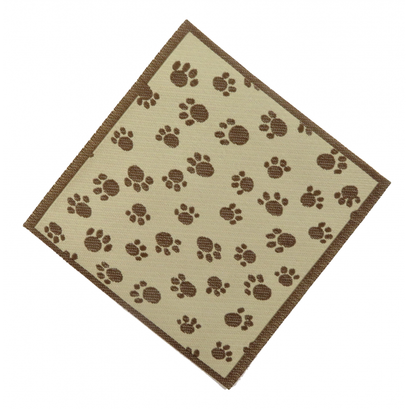 Dolls House Brown Paw Print Dog Blanket Rug Miniature 1:12 Scale Pet Accessory