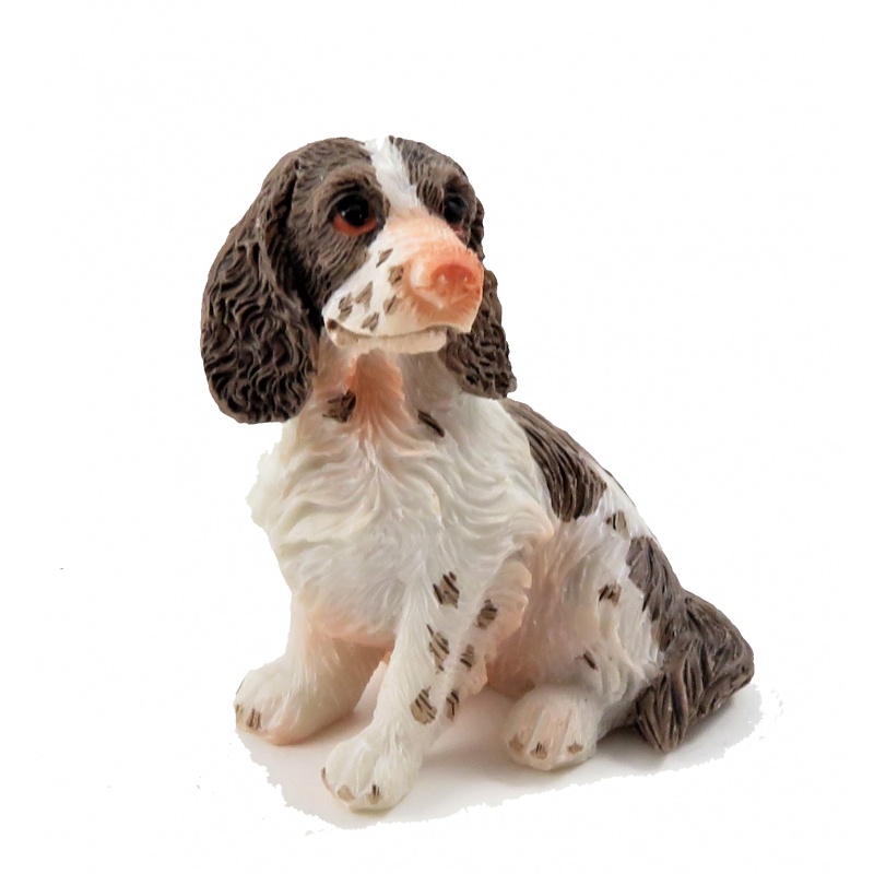 Dolls House Springer Spaniel Sitting Pet Dog Miniature 1:12 Scale Accessory