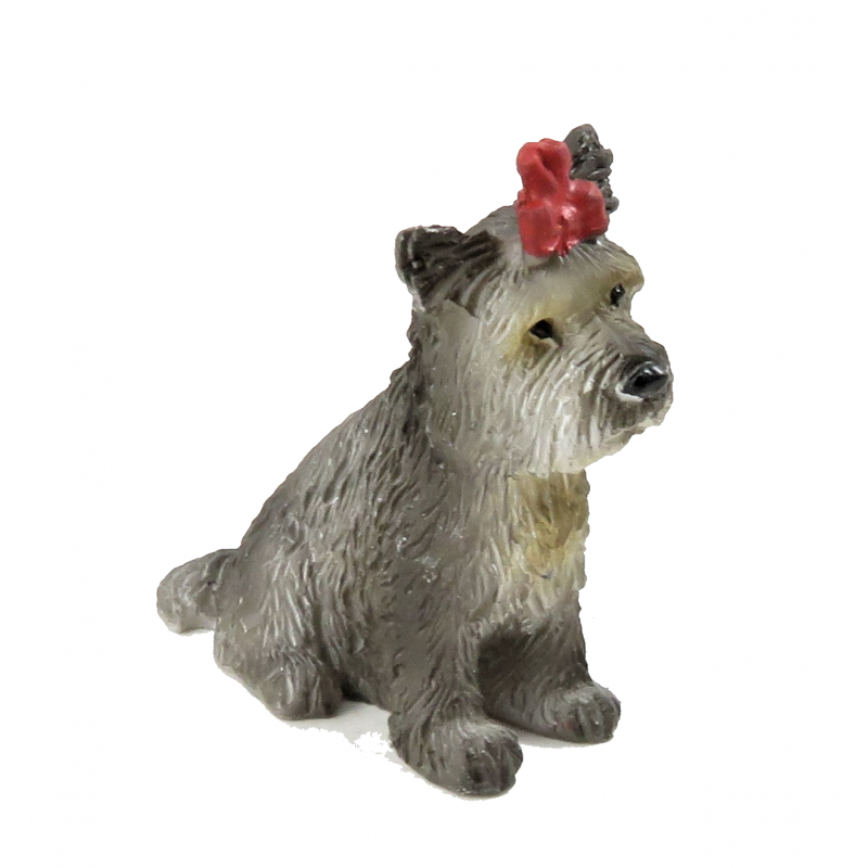 Dolls House Yorkshire Terrier Sitting Pet Yorkie Dog with Bow 1:12 Accessory