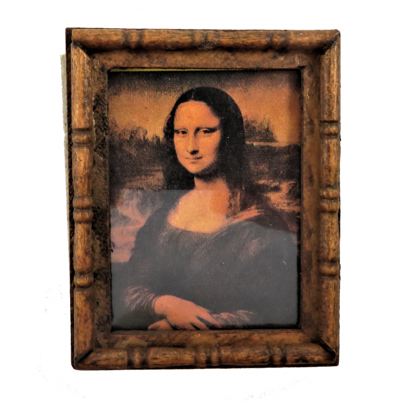 Dolls House Mona Lisa Picture Painting in Wooden Frame 1:12 Miniature Accessory