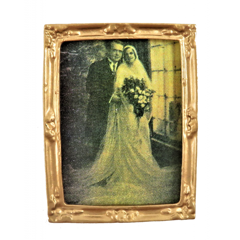 Dolls House Old Fashioned Wedding Picture in Gold Frame 1:12 Miniature Accessory