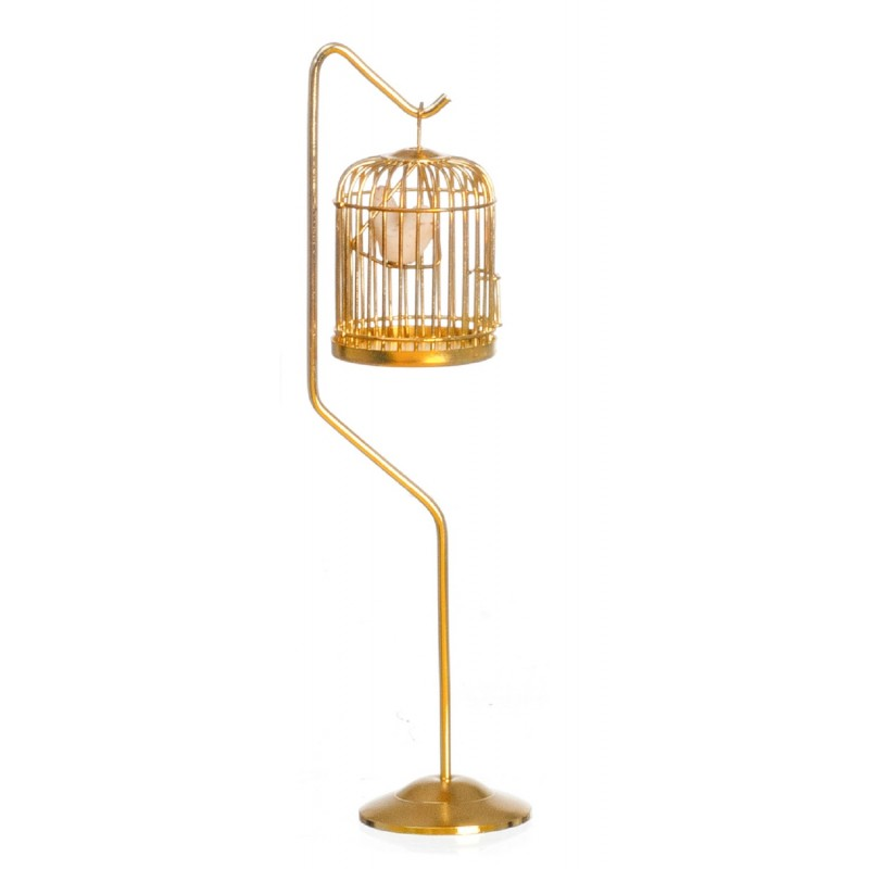 Dolls House Victorian Accessory Bird in Brass Cage on Stand Miniature 1:12