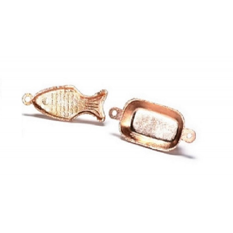 Dolls House Miniature Kitchen Accessory Copper Pan Hanging Fish Dish Cake Moulds