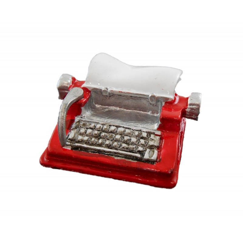 Dolls House Miniature Study Desk Accessory Red Metal Typewriter