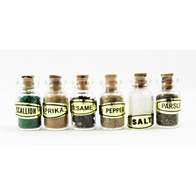 Dolls House 6 Full Glass Spice Jars Miniature 1:12 Kitchen Shop Store Accessory