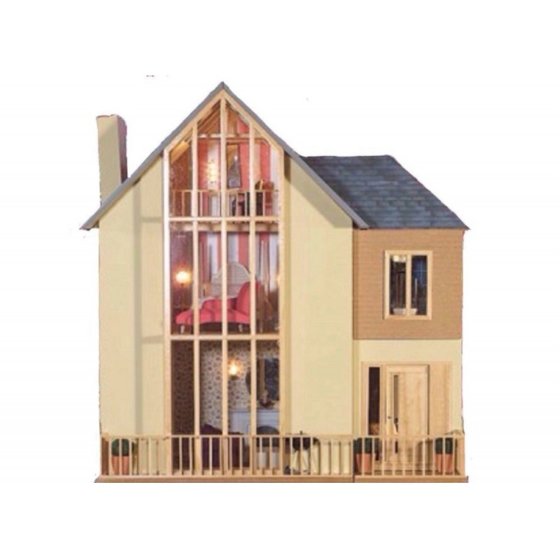 Lake View Dolls House Unpainted Flat Pack Kit 1:12 Scale Modern