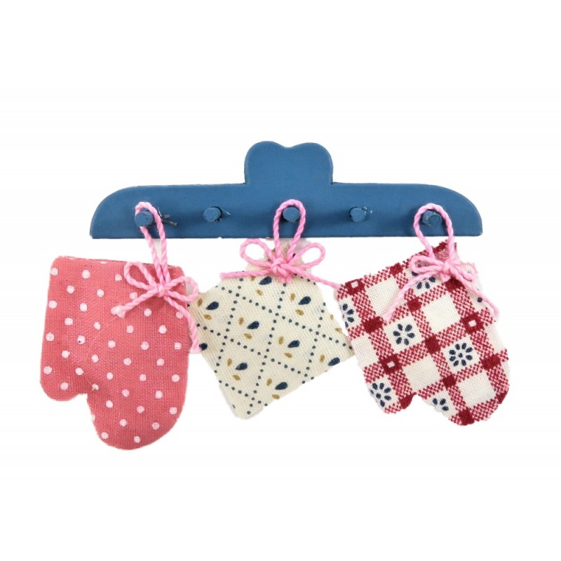 Dolls House Blue Wall Rack with Hanging Oven Gloves & Cloth Kitchen Accessory
