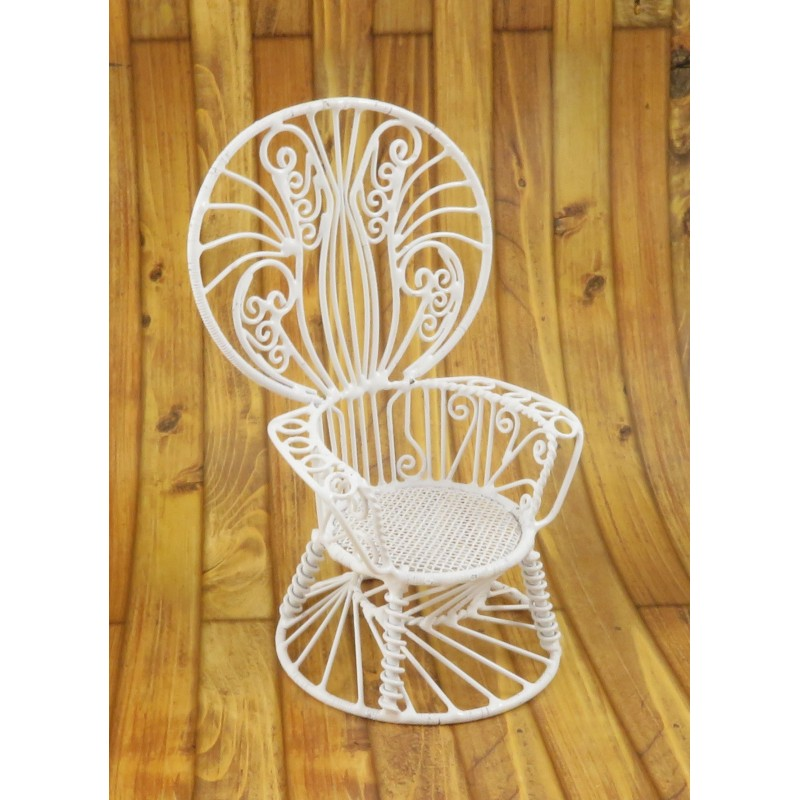 Dolls House Peacock Chair Miniature 1:12 White Wire Wrought Iron Furniture