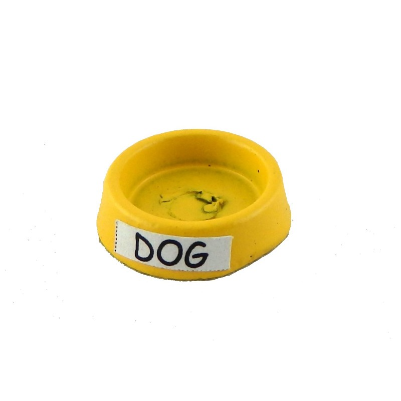 Dolls House Yellow Dog Food Dish Water Bowl Miniature 1:12 Scale Pet Accessory