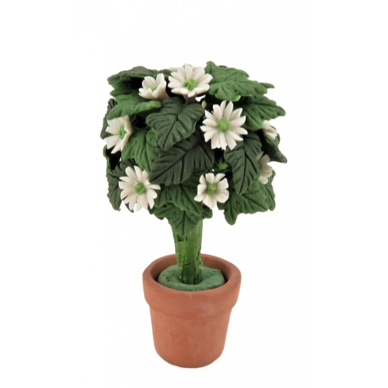 Dolls House Standard White Daisy Tree Bush in Terracotta Pot Garden Accessory
