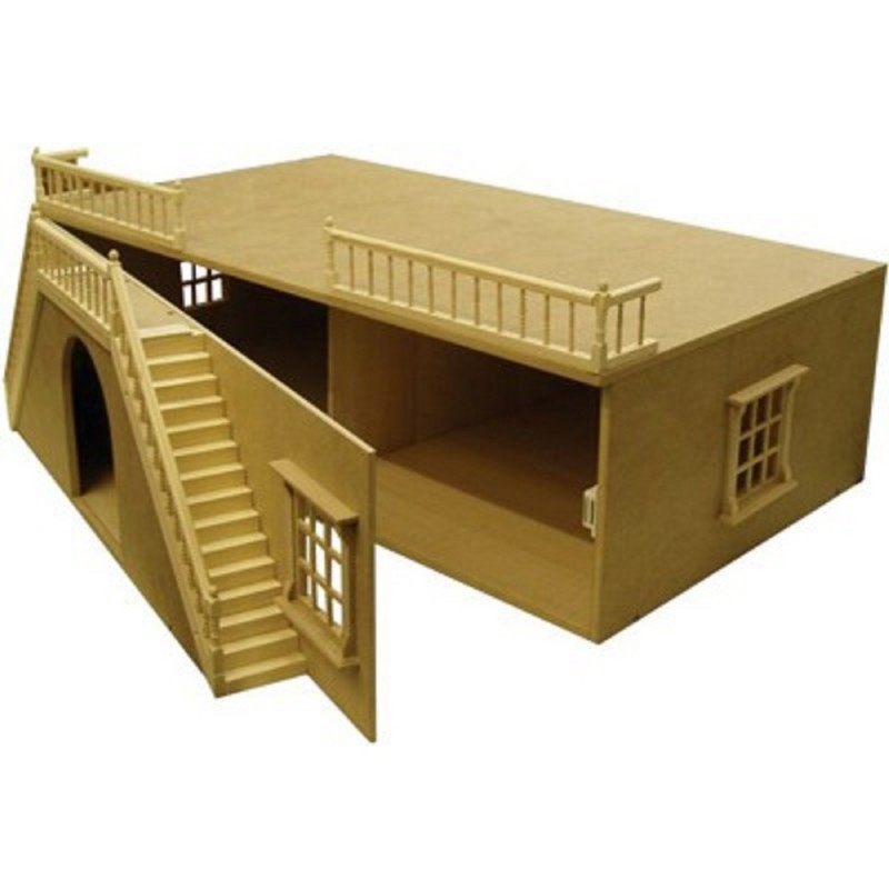 Dolls House Arch Front Basement Unpainted Flat Pack Kit 1:12 Scale