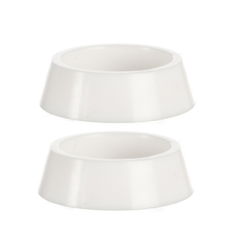 Dolls House 2 Plain White Pet Food Dish Water Bowl Large 1:12 Pet Accessory