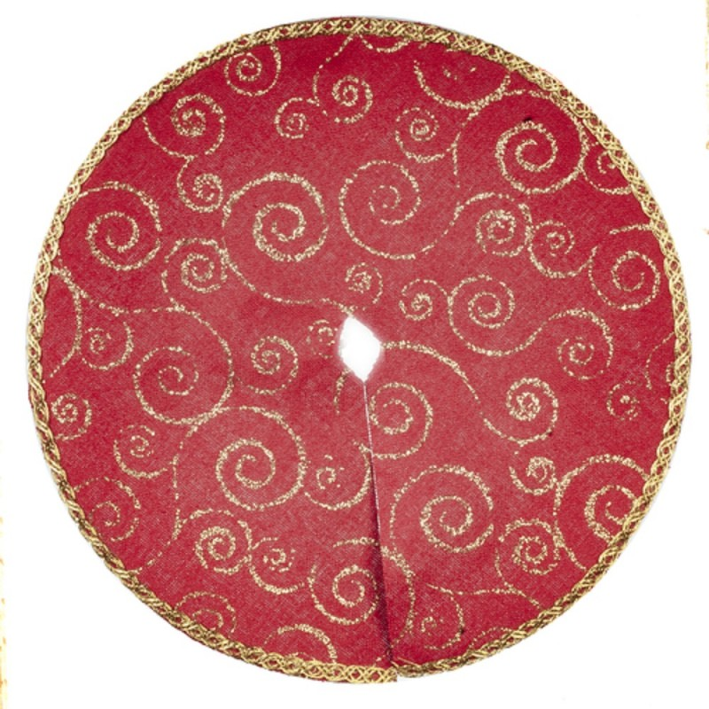 Dolls House Red & Gold Christmas Tree Skirt Miniature 1:12 Scale Accessory