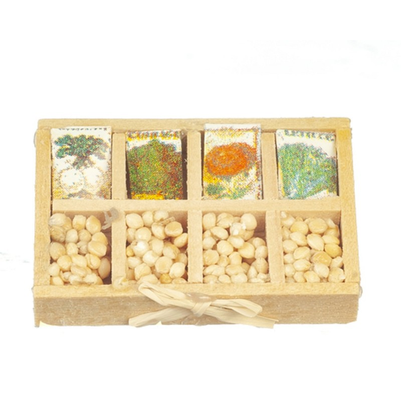 Dolls House Seed Packets & Bulbs Display Box Garden Store Shop Accessory