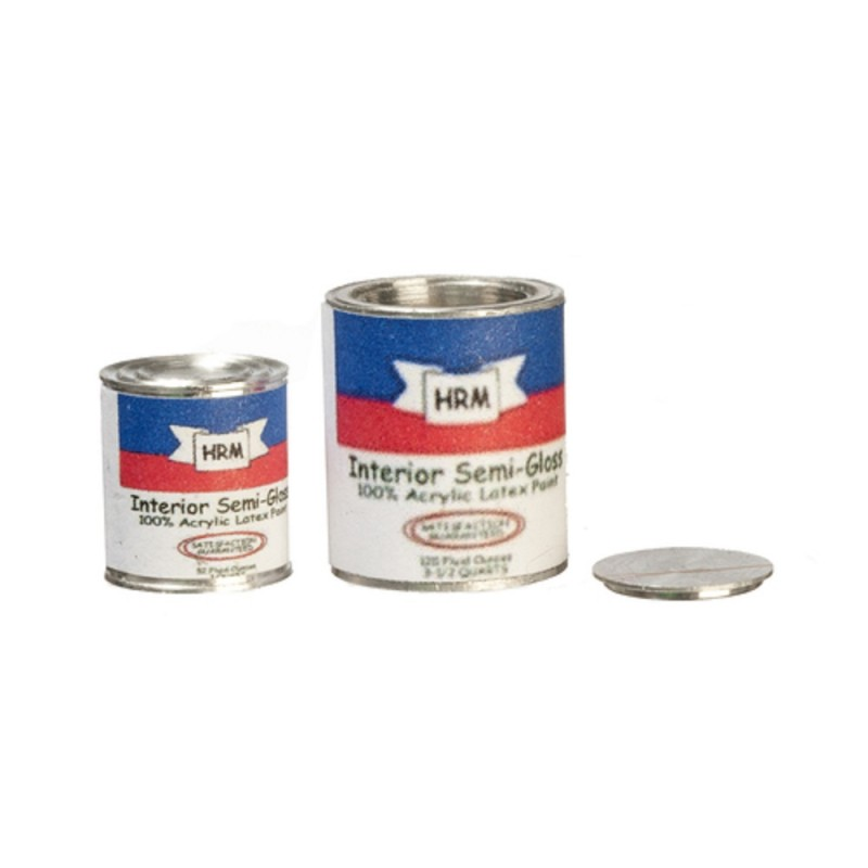 Dolls House Paint Can Tin Set of 2 Miniature Work Tool DIY Shop Accessory 1:12