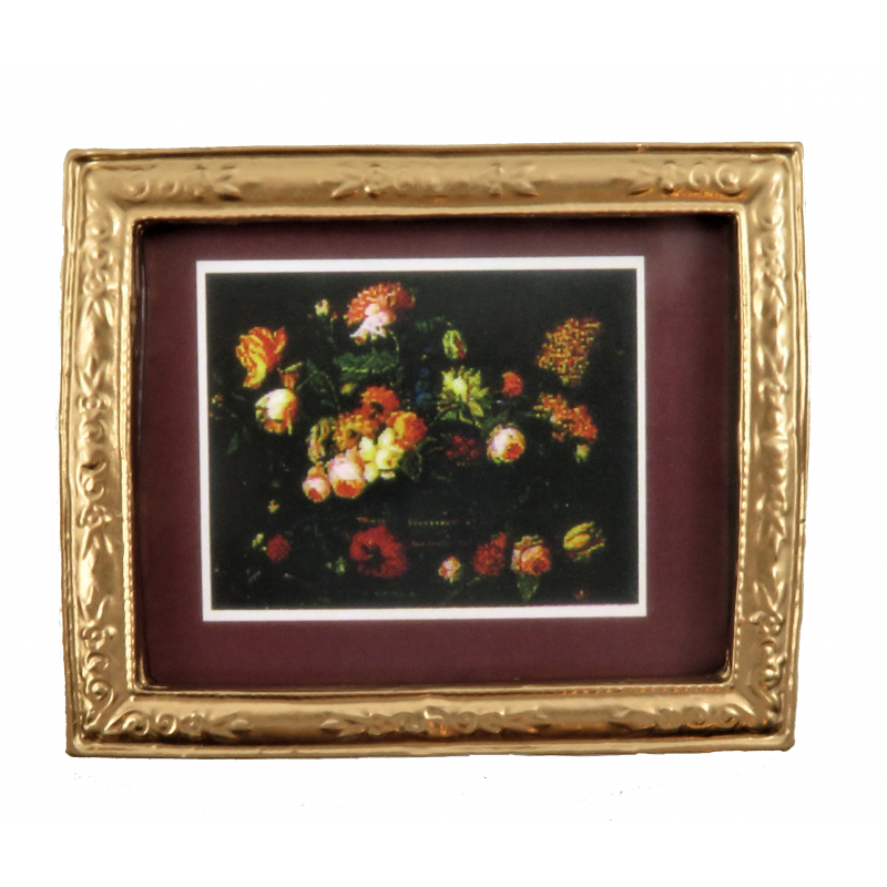Dolls House Flower Picture Burgundy Mount in Gold Frame 1:12 Miniature Accessory