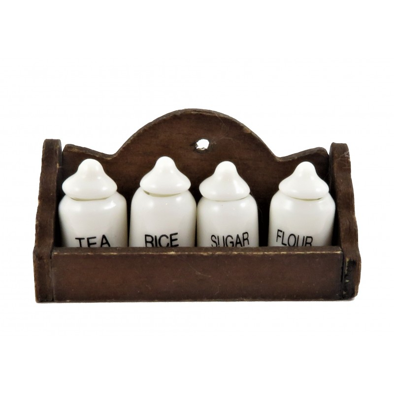 Dolls House Wooden Wall Shelf & 4 White Storage Jars 1:12 Kitchen Accessory