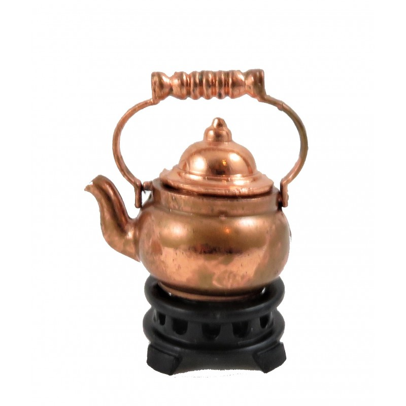 Dolls House Old Fashioned Copper Kettle on Stand 1:12 Kitchen Accessory
