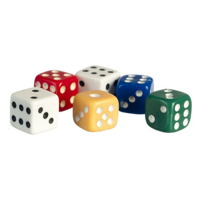 Dolls House Set of 6 Coloured 5mm Dice Miniature Bar Games Room Pub Accessory
