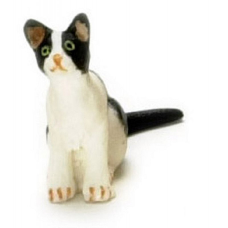 Dolls House Black & White Kitten Sitting Miniature Pet Animal 1:12 Cat