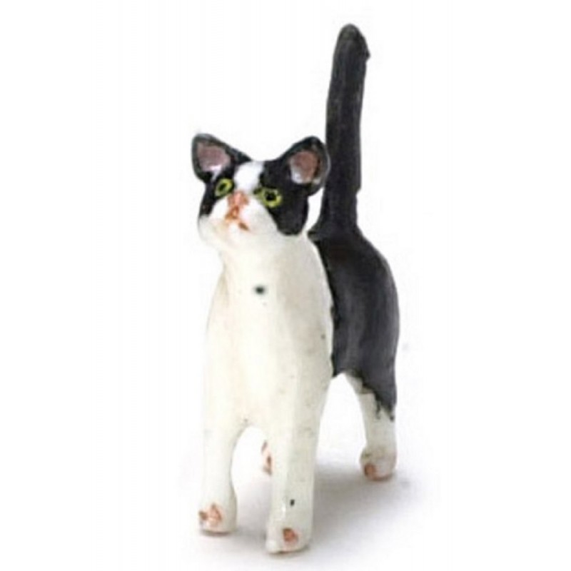 Dolls House Black & White Kitten Standing Miniature Pet Animal 1:12 Cat