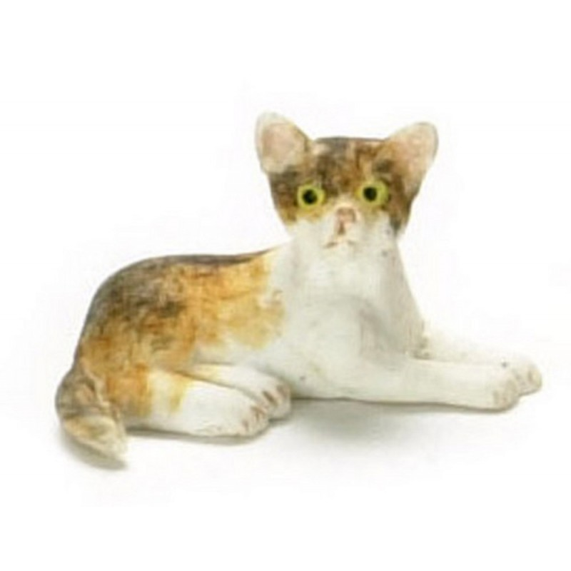 Dolls House Tabby Kitten Lying Down Miniature Pet Animal 1:12 Cat