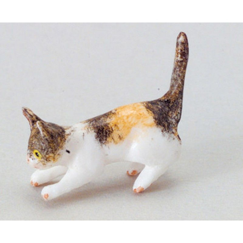 Dolls House Tabby Kitten Playing Miniature Pet Animal 1:12 Cat