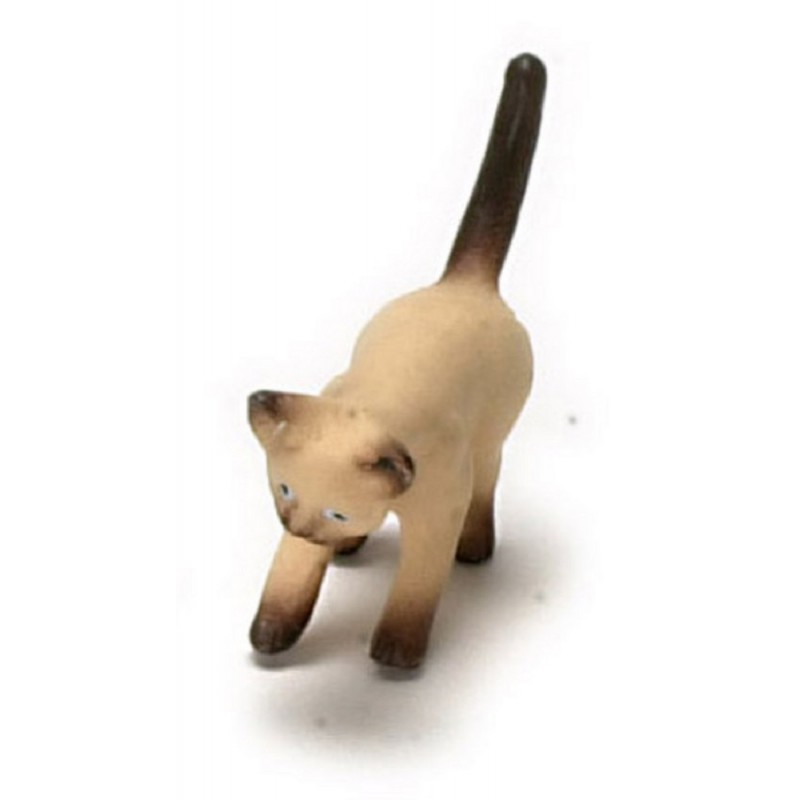 Dolls House Siamese Kitten Playing with Something Pet Animal 1:12 Cat