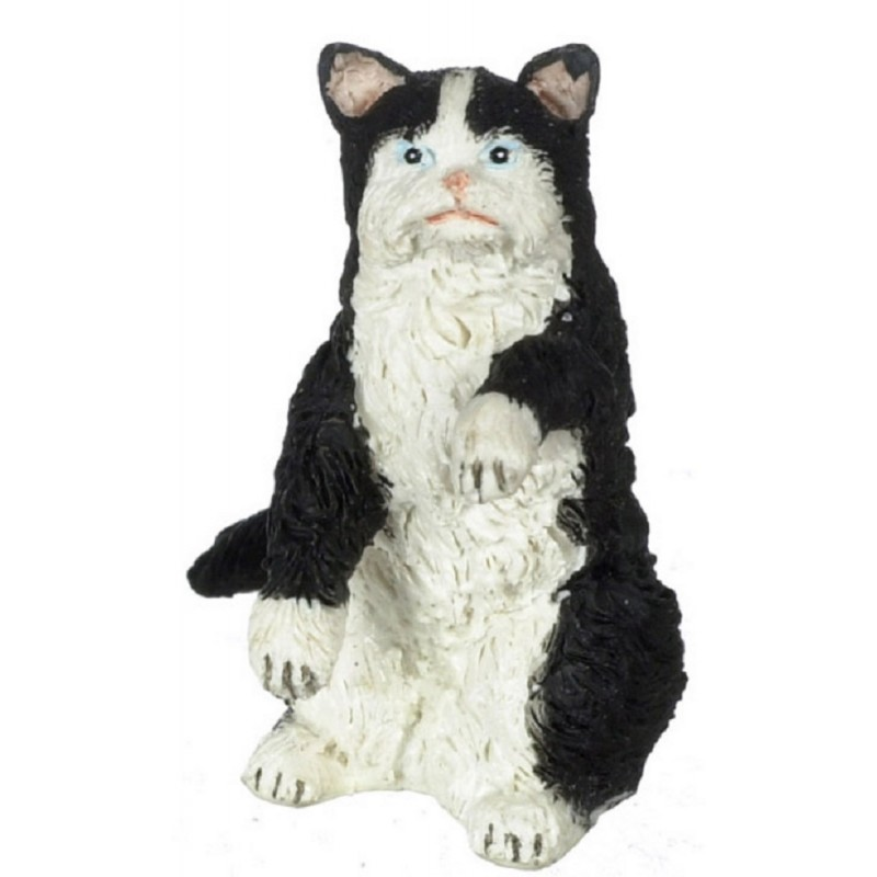 Dolls House Black & White Persian Cat Sitting Up on Hind Legs Miniature Pet