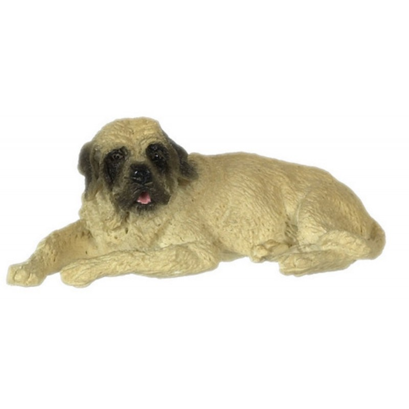 Dolls House Mastiff Lying Down Resting 1:24 Scale Half Inch Pet Dog Animal
