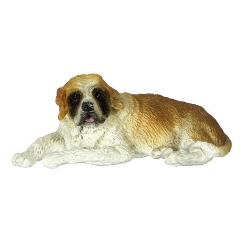 Dolls House St Bernard Lying Down Resting 1:24 Scale Half Inch Pet Dog Animal