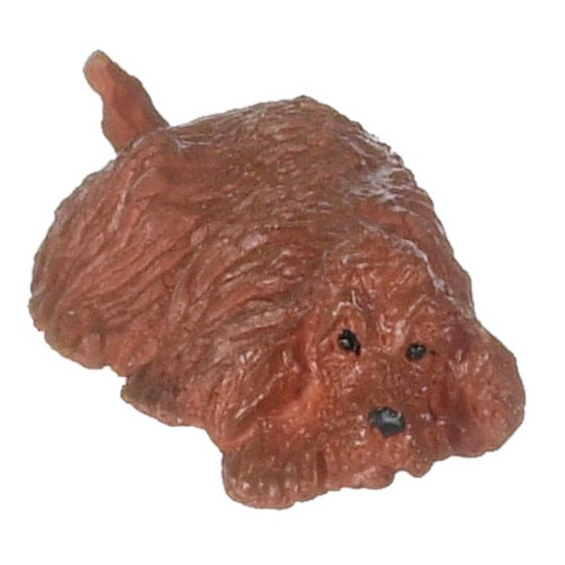 Dolls House Red Cocker Spaniel Lying Down 1:24 Scale Half Inch Pet Dog Animal