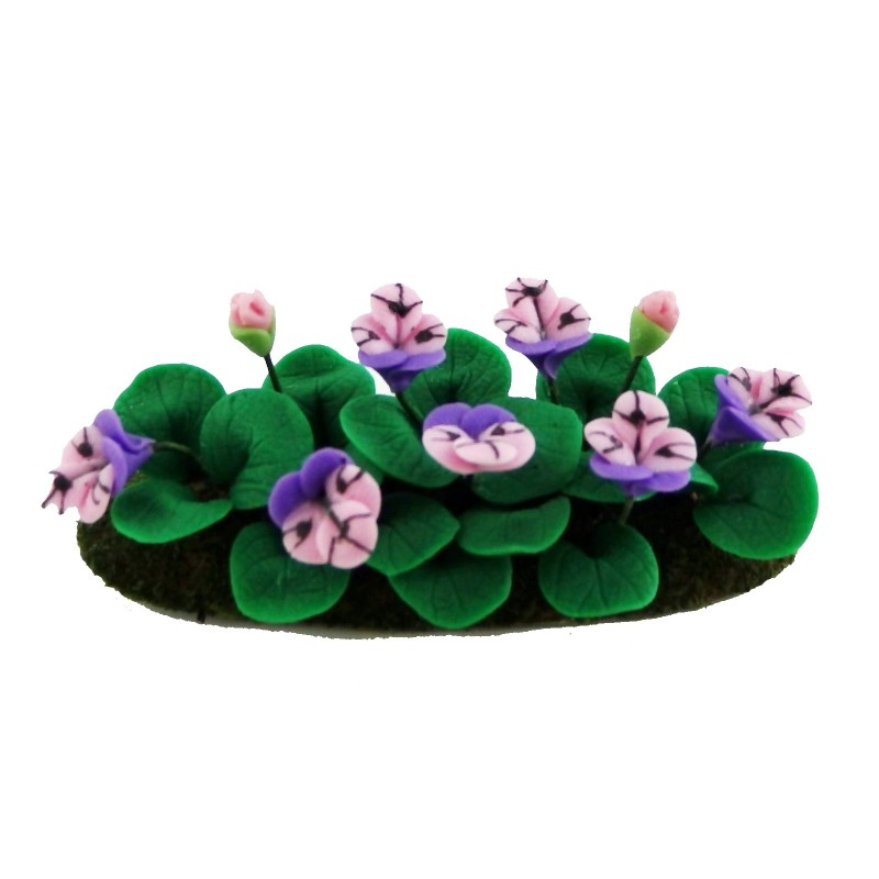 Dolls House Miniature Garden Accessory Mauve Pansies Flowers in Ground Grass
