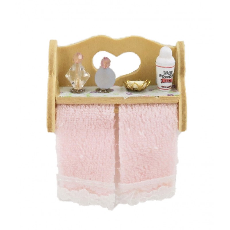 Dolls House Bare Wood Wall Shelf with Bathroom Accessories & Towel Rail Pink